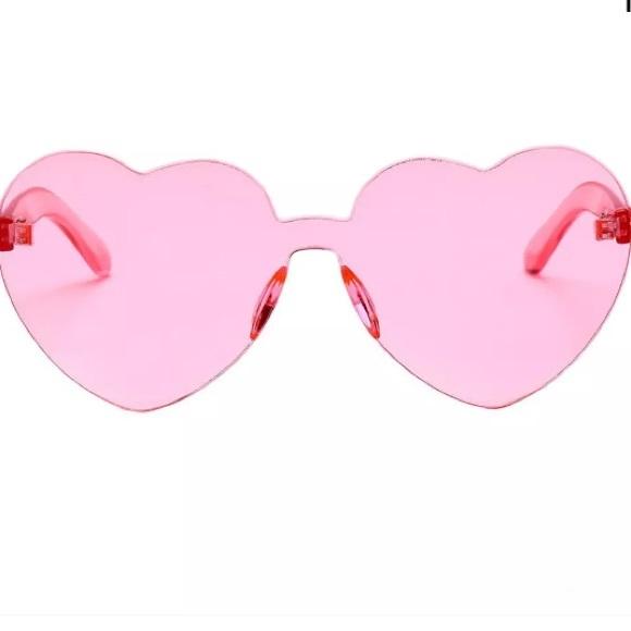 1ee1af04e9a Kawaii 💕 Heart No Frames Pink Sunglasses InSeason. NWT. NA
